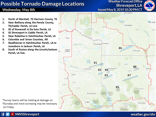 Wednesday, May 8, 2019, the Shreveport National Weather Service released a map on social media of eight locations that may have experienced tornado damage.