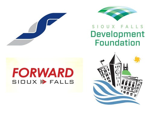 Clockwise from top left, the Chamber of Commerce logo, the Development Foundation, City of Sioux Falls and Foward Sioux Falls logos.