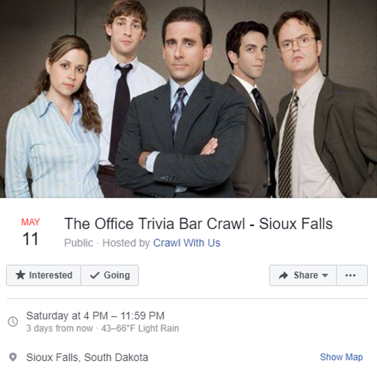 """Around 200 people have registered and paid tickets for """"The Office"""" Trivia Bar Crawl, scheduled for May 11in downtown Sioux Falls. The event was labeled as a scam online by the Better Business Bureau."""