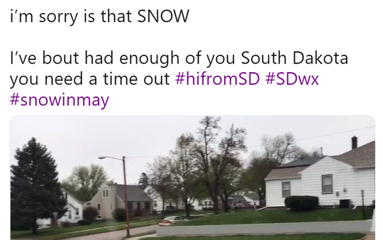 Twitter reacts to snow on May 8, 2019 in Sioux Falls, South Dakota.