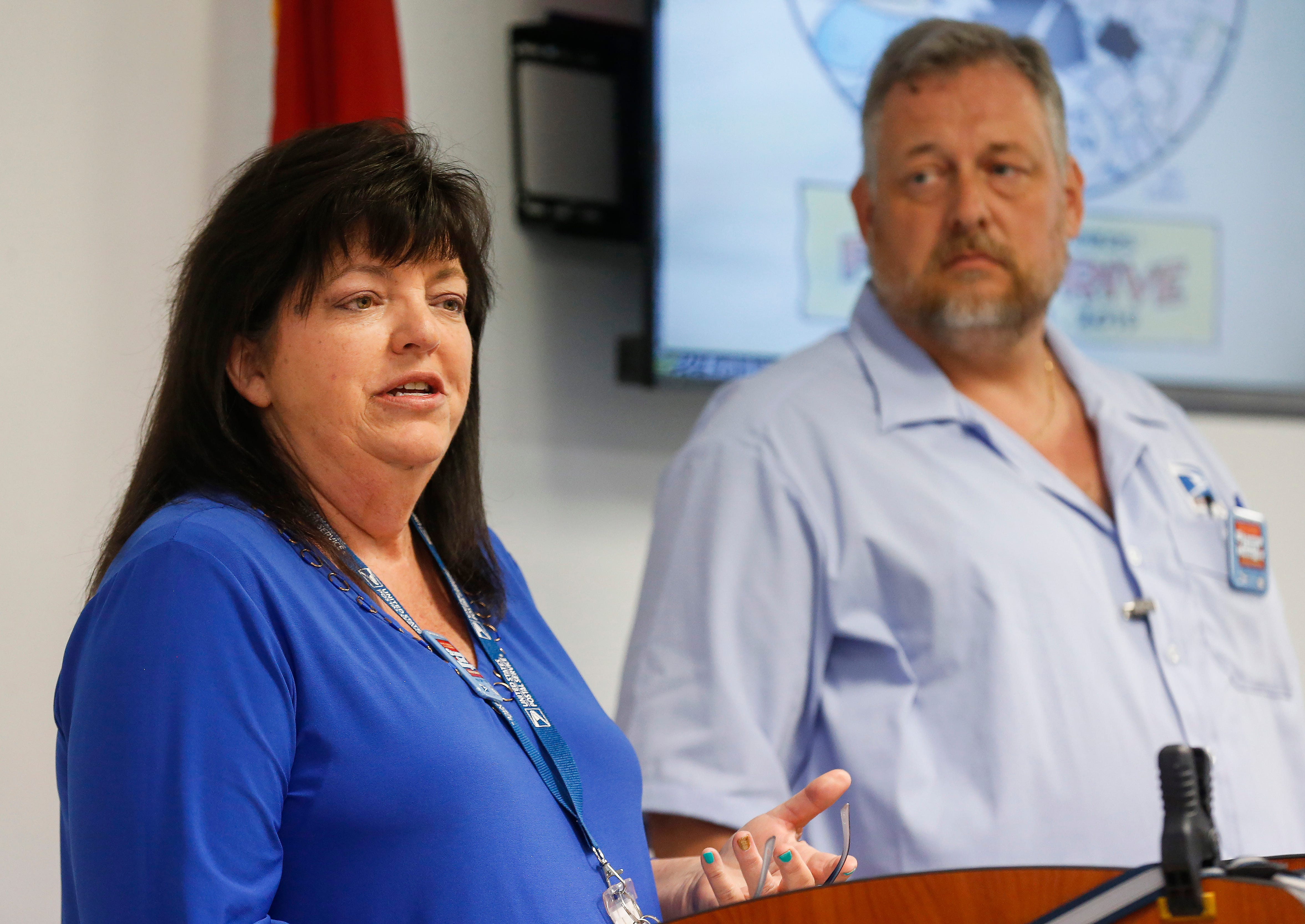 Terri Ryan, the postmaster of Springfield, speaks during a press conference for the Stamp Out Hunger Food Drive on Thursday, May 9, 2019.