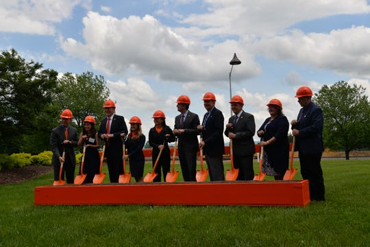 A groundbreaking ceremony on May 9, 2019 for a new production line at the Stuarts Draft Hershey plant. The $104 million expansion will bring 65 new jobs.