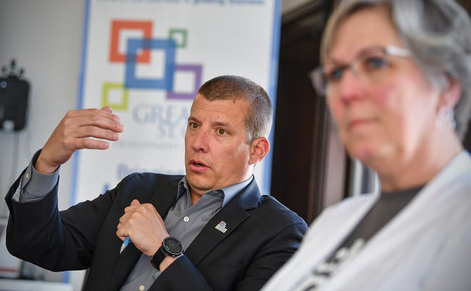 Greater St. Cloud Development Corporation Business Development Director Larry Hosch talks about the recently-announced gener8tor partnership during an interview Tuesday, May 9, in St. Cloud.