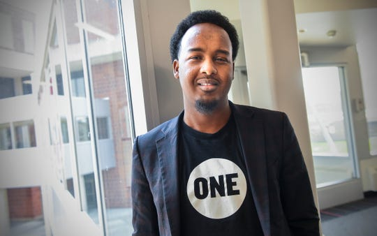 Suud Olat is pictured Tuesday, May 7, at St. Cloud State University. After growing up in the Dabaab refugee complex in Kenya, Olat will graduate Friday with a degree in international relations.