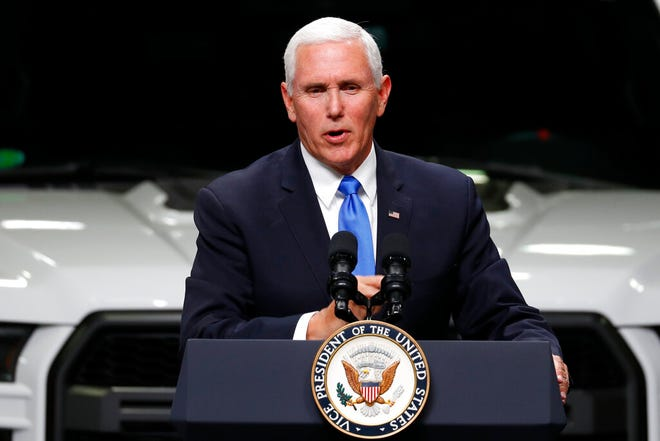 In this Wednesday, April 24, file photo, Vice President Mike Pence speaks at an auto industry discussion of the new United States-Mexico-Canada Agreement in Taylor, Mich. Pence plans two tour stops in Minnesota on Thursday, May 9, to talk about the stalled trade deal with Mexico and Canada.