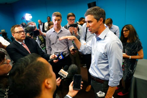 In this May 6, photo, Democratic presidential candidate and former Texas Congressman Beto O'Rourke speaks to reporters in Des Moines, Iowa. He spoke Wednesday in Minneapolis.