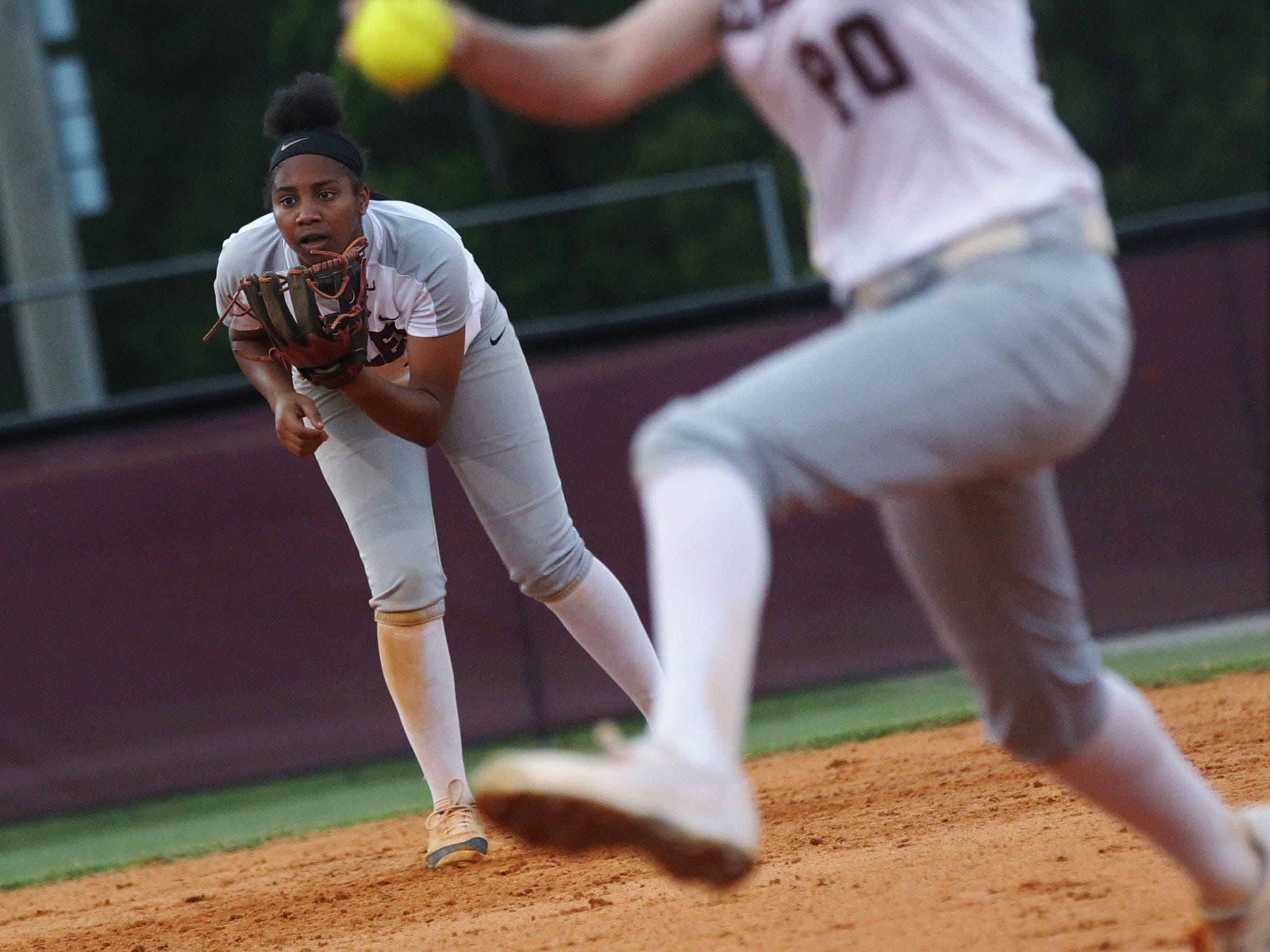Chiles junior Amaya Gainer prepares defensively at shortstop as the Timberwolves beat Atlantic Coast 6-4 during a Region 1-8A quarterfinal softball game on Wednesday, May 8, 2019.