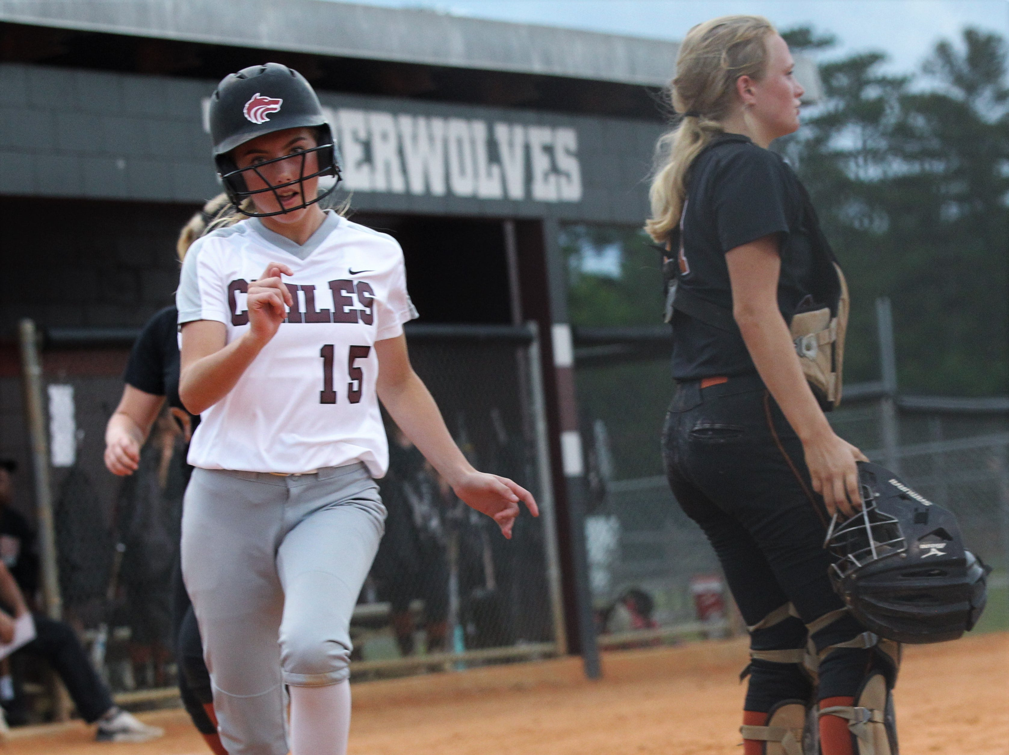 Chiles freshman Baylee Smith scores a run as the Timberwolves beat Atlantic Coast 6-4 during a Region 1-8A quarterfinal softball game on Wednesday, May 8, 2019.