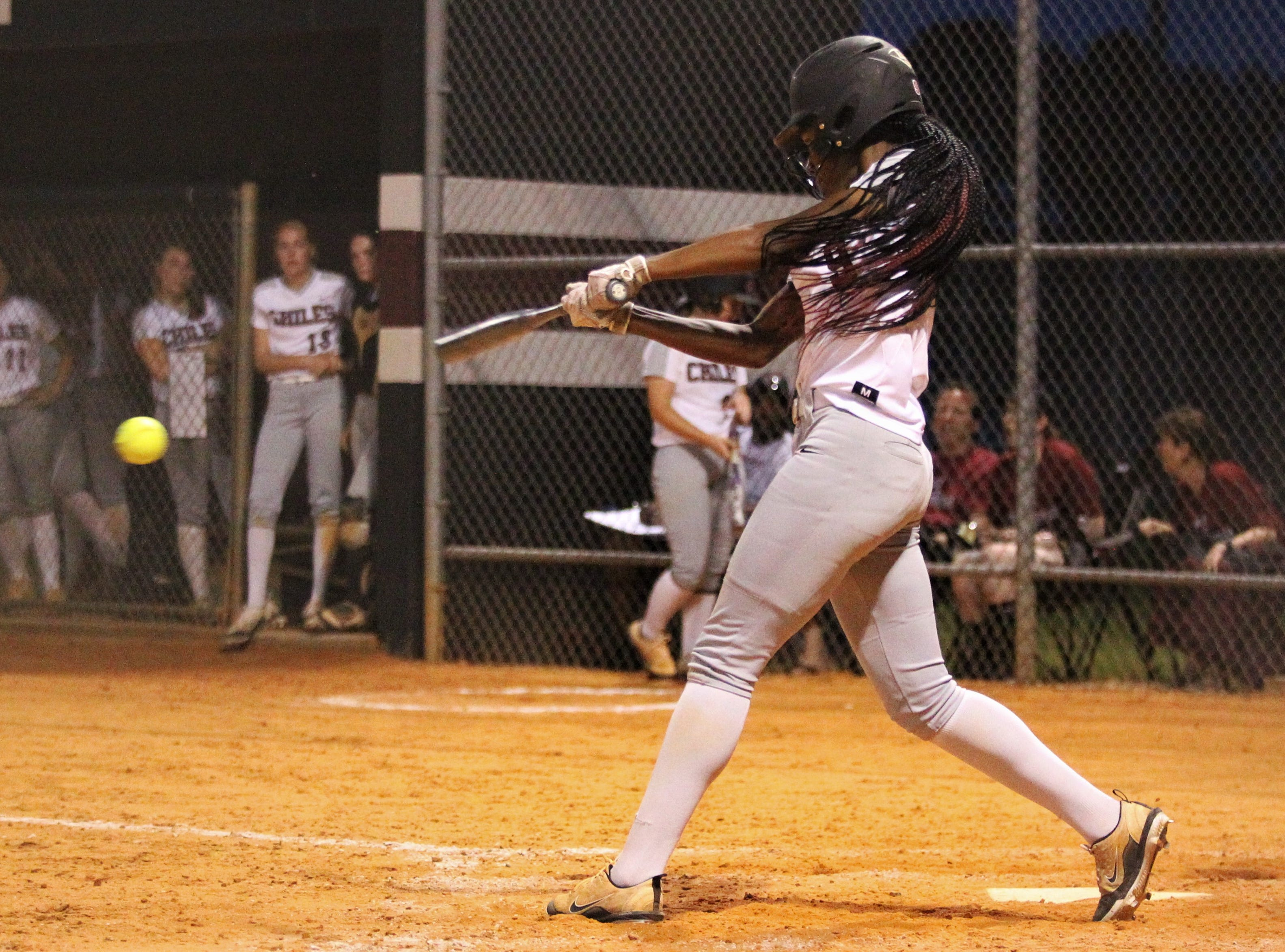 Chiles junior Lamari White bats as the Timberwolves beat Atlantic Coast 6-4 during a Region 1-8A quarterfinal softball game on Wednesday, May 8, 2019.