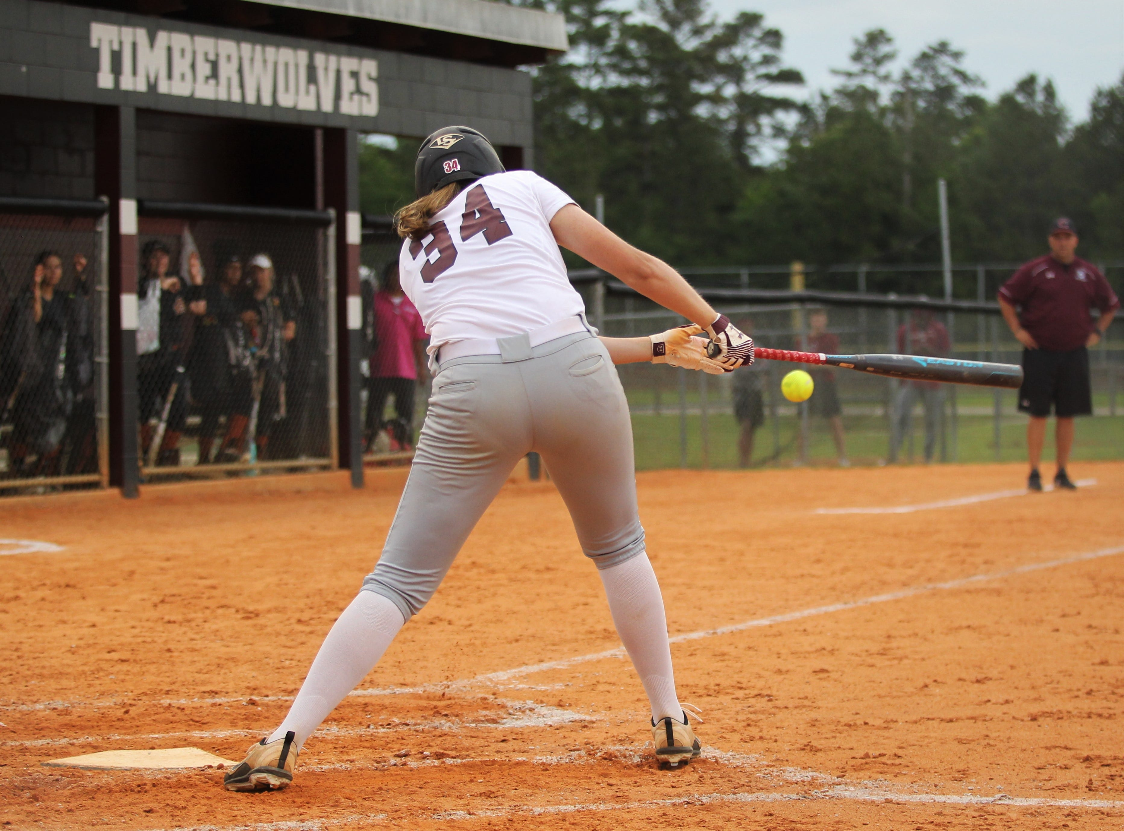 Chiles sophomore Ashlynn Pauwels bats as the Timberwolves beat Atlantic Coast 6-4 during a Region 1-8A quarterfinal softball game on Wednesday, May 8, 2019.