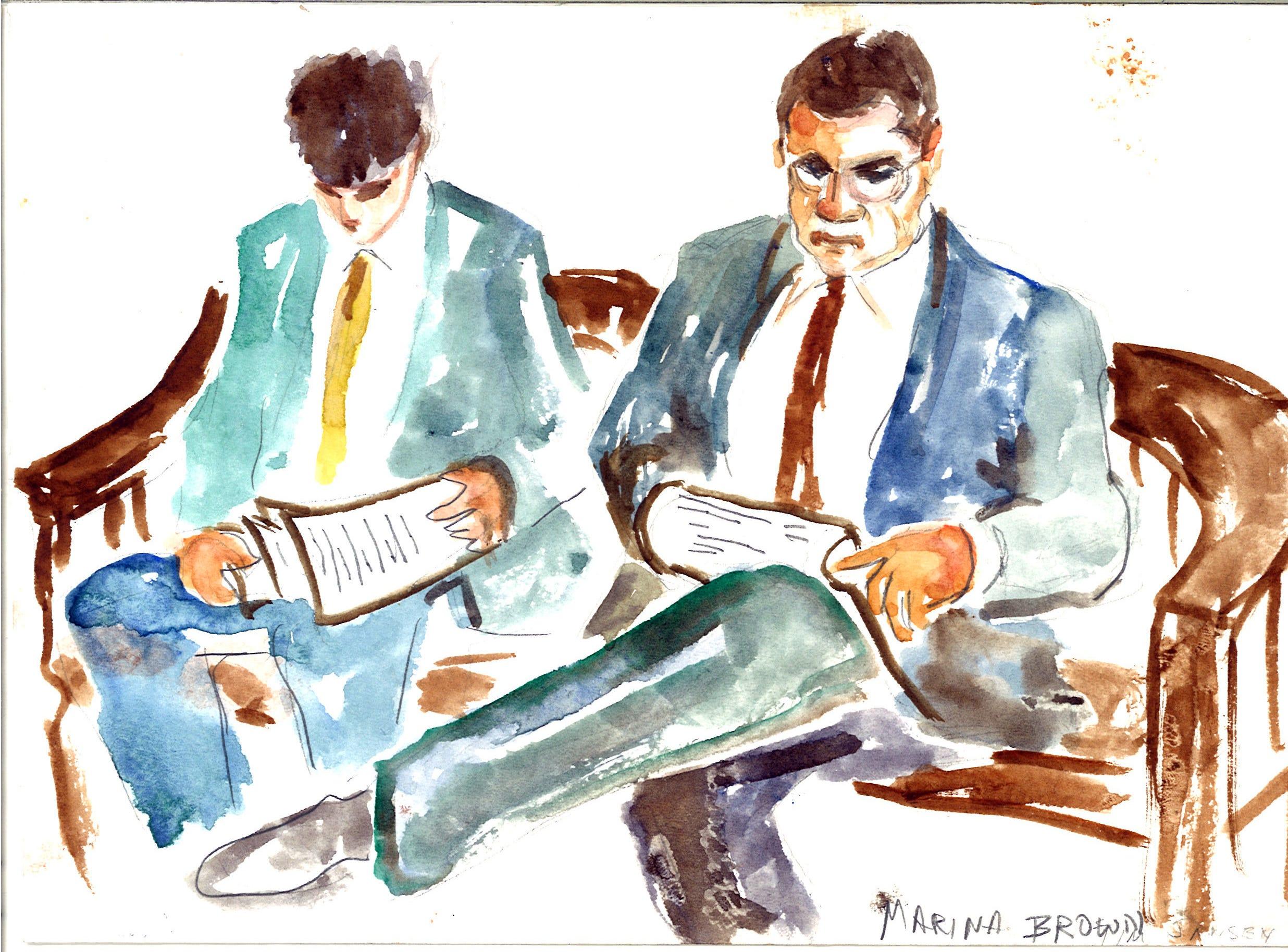 Defense attorneys Tim Jansen, right, and Adam J. Komisar in federal court Thursday.