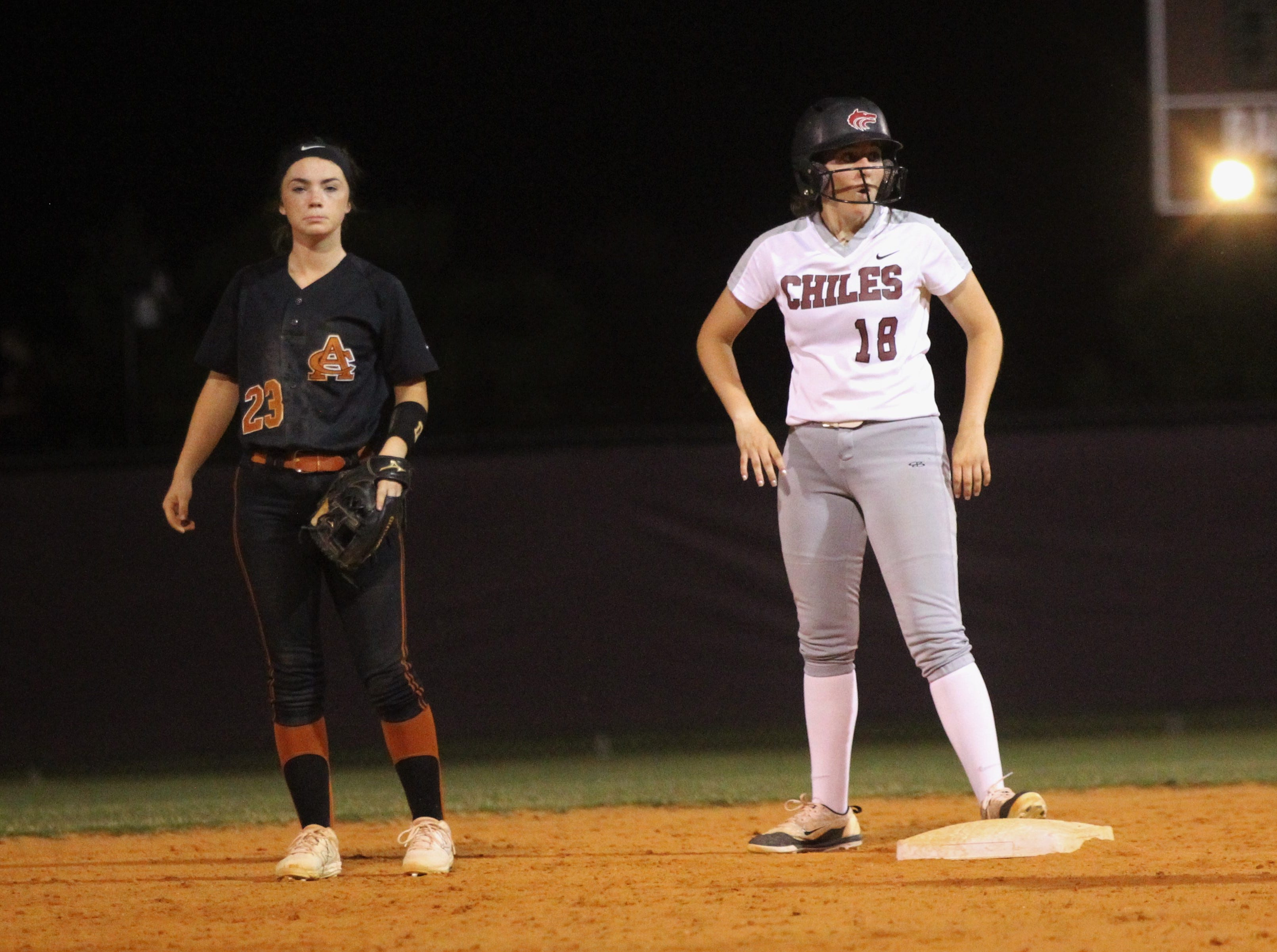 Chiles junior Megan Monk stands on second after being advaned following a single as the Timberwolves beat Atlantic Coast 6-4 during a Region 1-8A quarterfinal softball game on Wednesday, May 8, 2019.