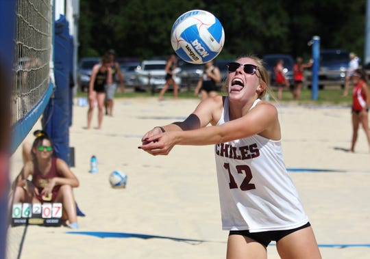 Chiles senior Kelsey Mead plays in the end-of-year beach volleyball championship at Tom Brown park. Mead has been playing both beach and softball this spring.