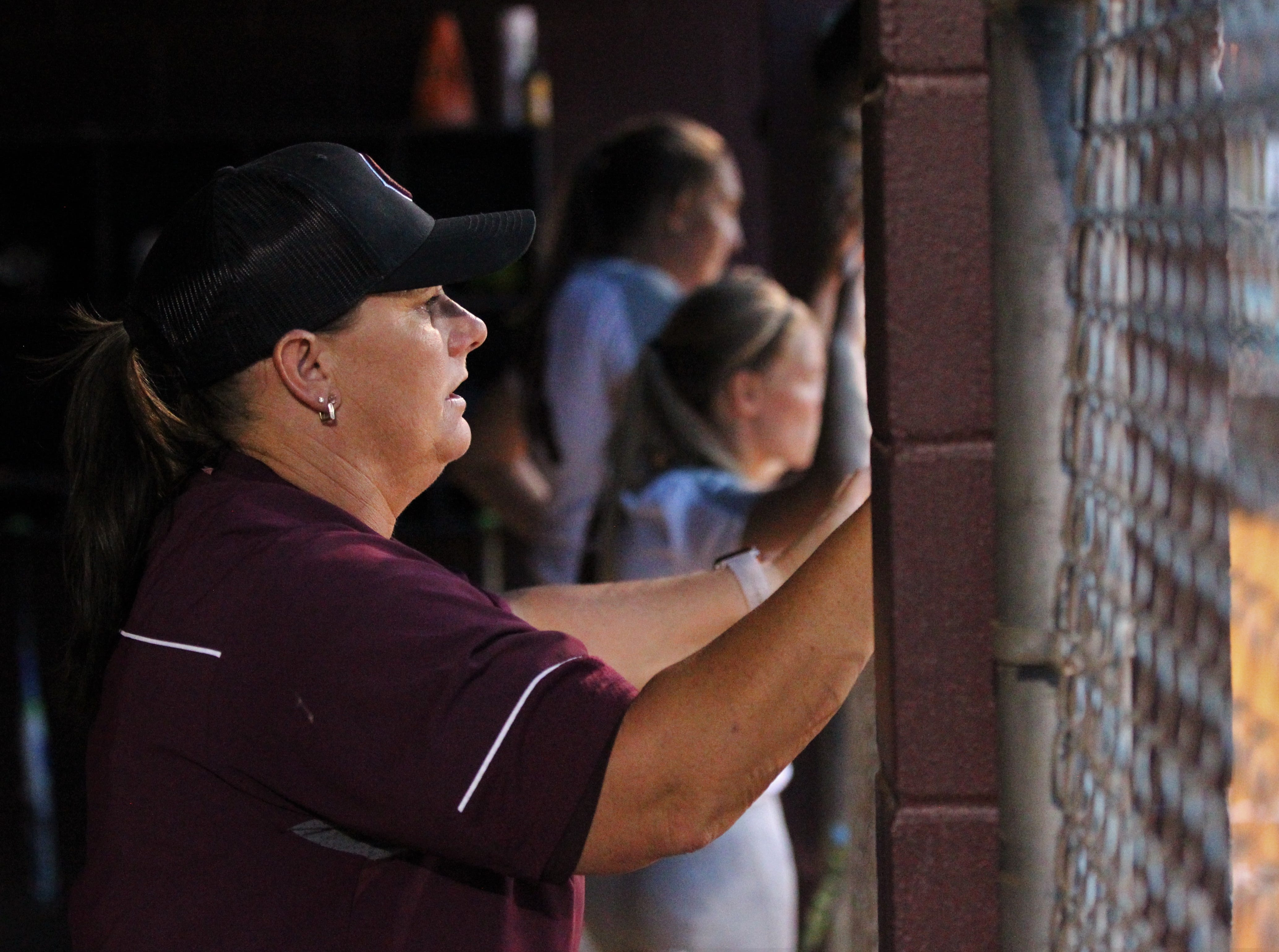 Chiles softball coach Cyndi Jevyak watches as the Timberwolves beat Atlantic Coast 6-4 during a Region 1-8A quarterfinal softball game on Wednesday, May 8, 2019.