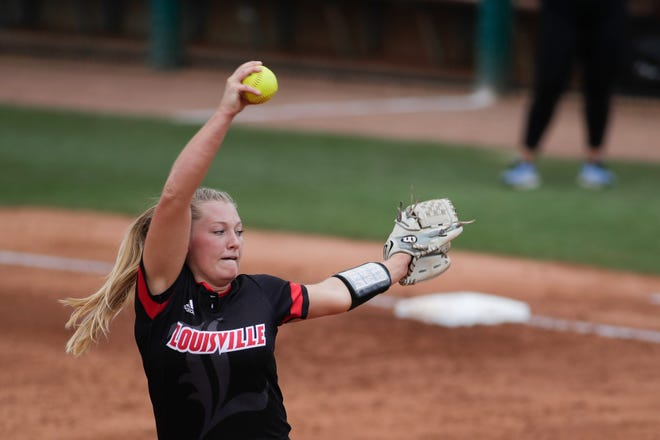 University of Louisville Danielle Watson (13) throws a pitch during a game between U of L and the University of North Carolina at Florida State University's JoAnne Graf Field Thursday, May 9, 2019.