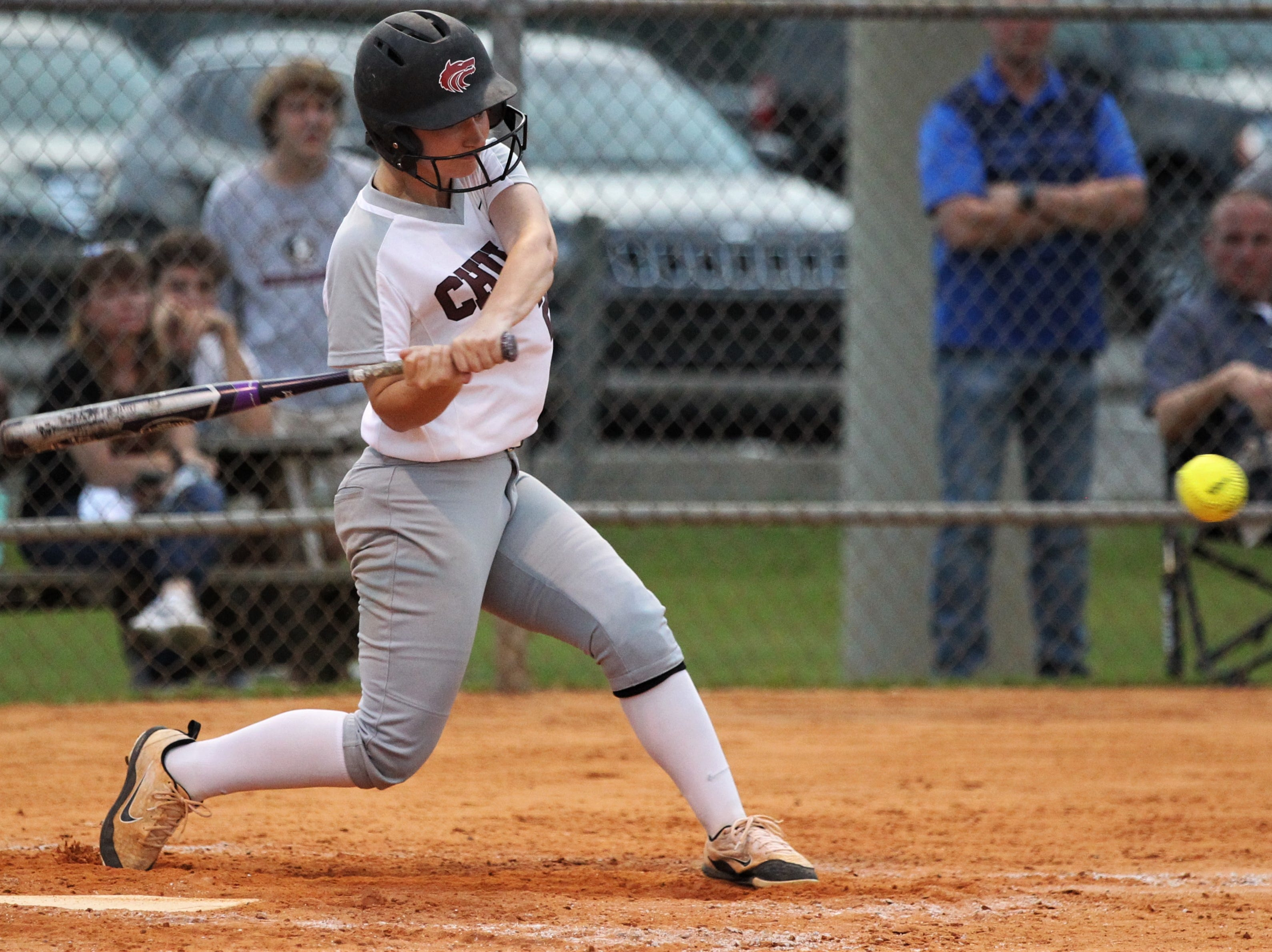 Chiles junior Sierra Jevyak bats as the Timberwolves beat Atlantic Coast 6-4 during a Region 1-8A quarterfinal softball game on Wednesday, May 8, 2019.