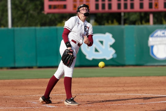 Florida State Seminoles starting pitcher/relief pitcher Meghan King (48) pitches to a batter. The Florida State Seminoles host the Georgia Tech Yellow Jackets for the ACC Softball Tournament quarterfinals Thursday, May 9, 2019.