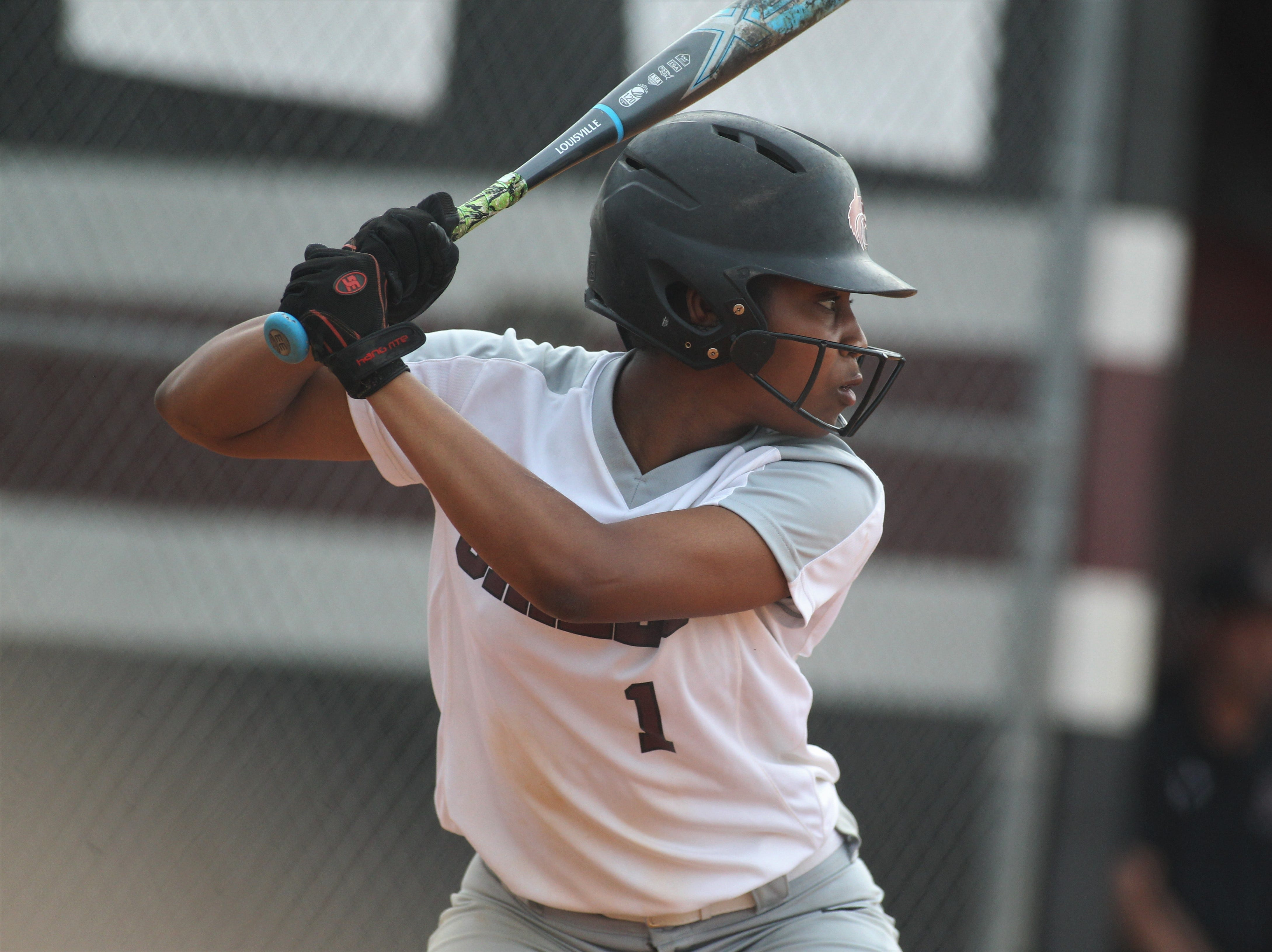 Chiles junior Amaya Gainer bats as the Timberwolves beat Atlantic Coast 6-4 during a Region 1-8A quarterfinal softball game on Wednesday, May 8, 2019.