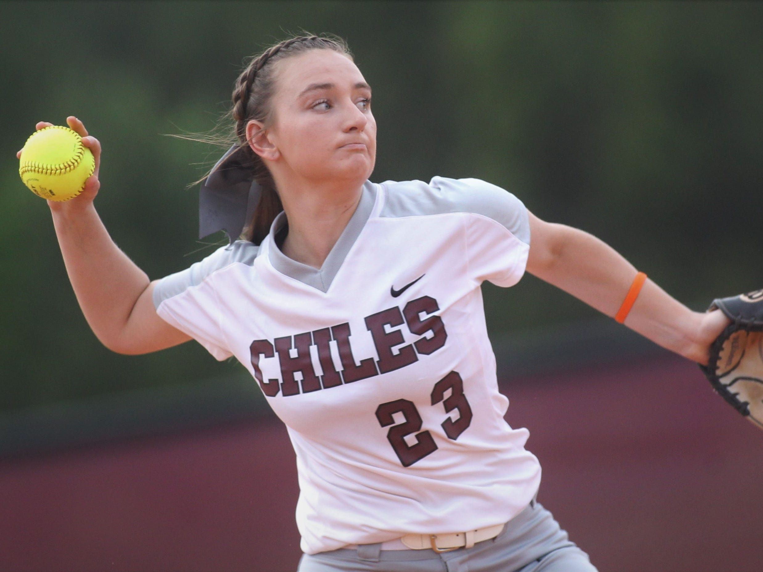 Chiles junior third baseman Sierra Jevyak throws to first for an out as the Timberwolves beat Atlantic Coast 6-4 during a Region 1-8A quarterfinal softball game on Wednesday, May 8, 2019.