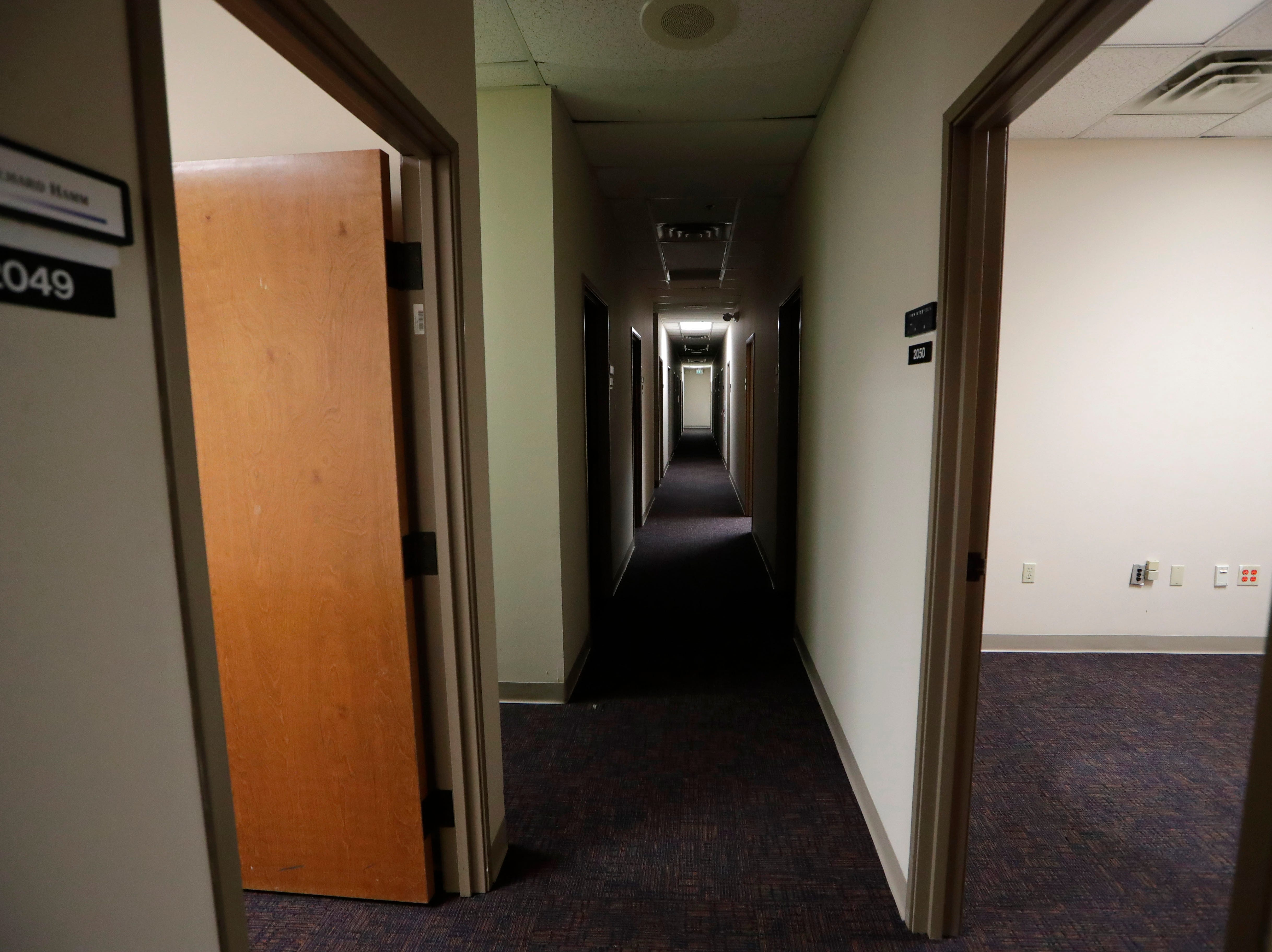 A hallway of vacant offices in the Northwood Centre Wednesday, May 8, 2019.