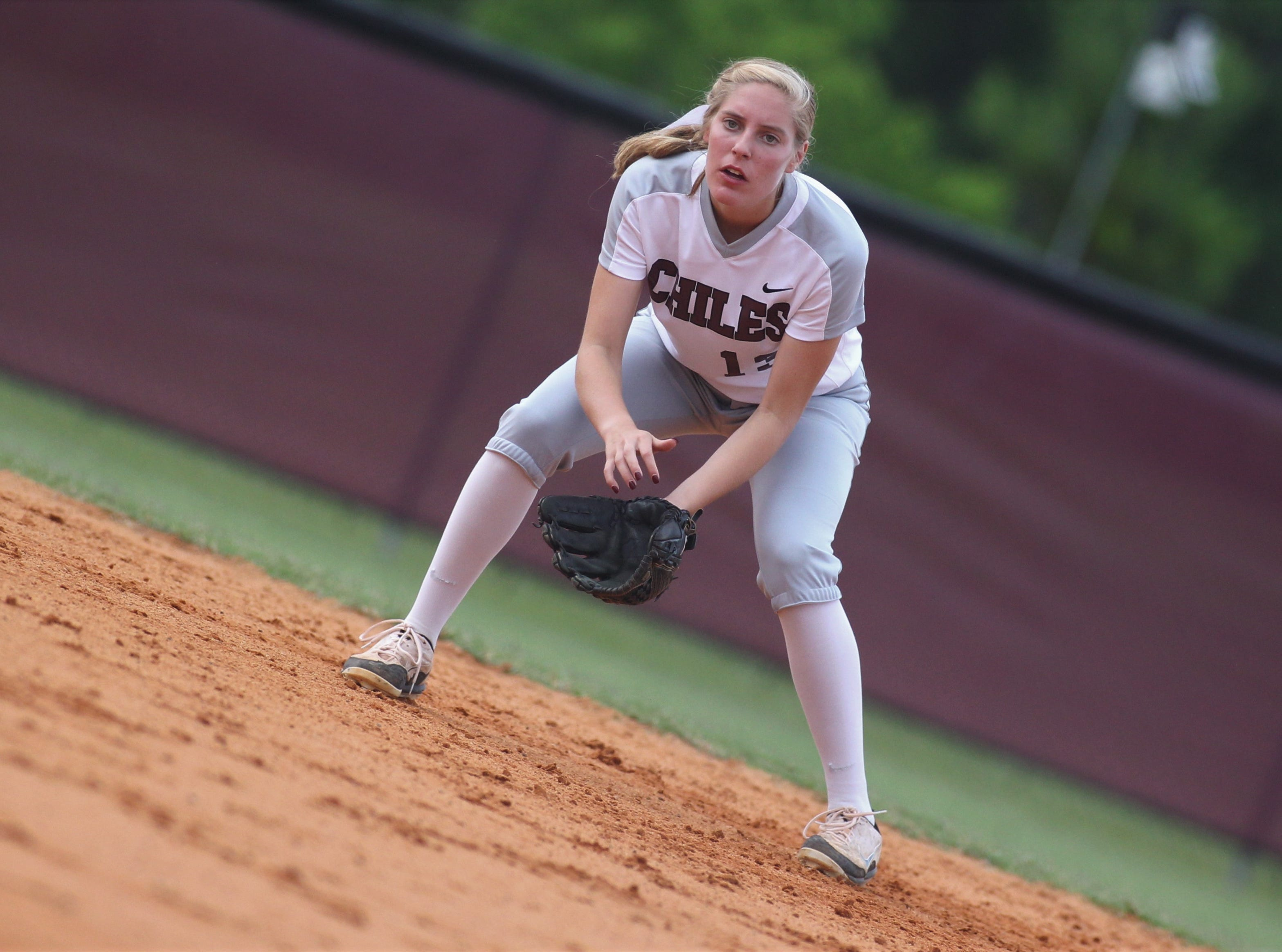 Chiles senior Kelsey Mead prepares defensively at second base as the Timberwolves beat Atlantic Coast 6-4 during a Region 1-8A quarterfinal softball game on Wednesday, May 8, 2019.