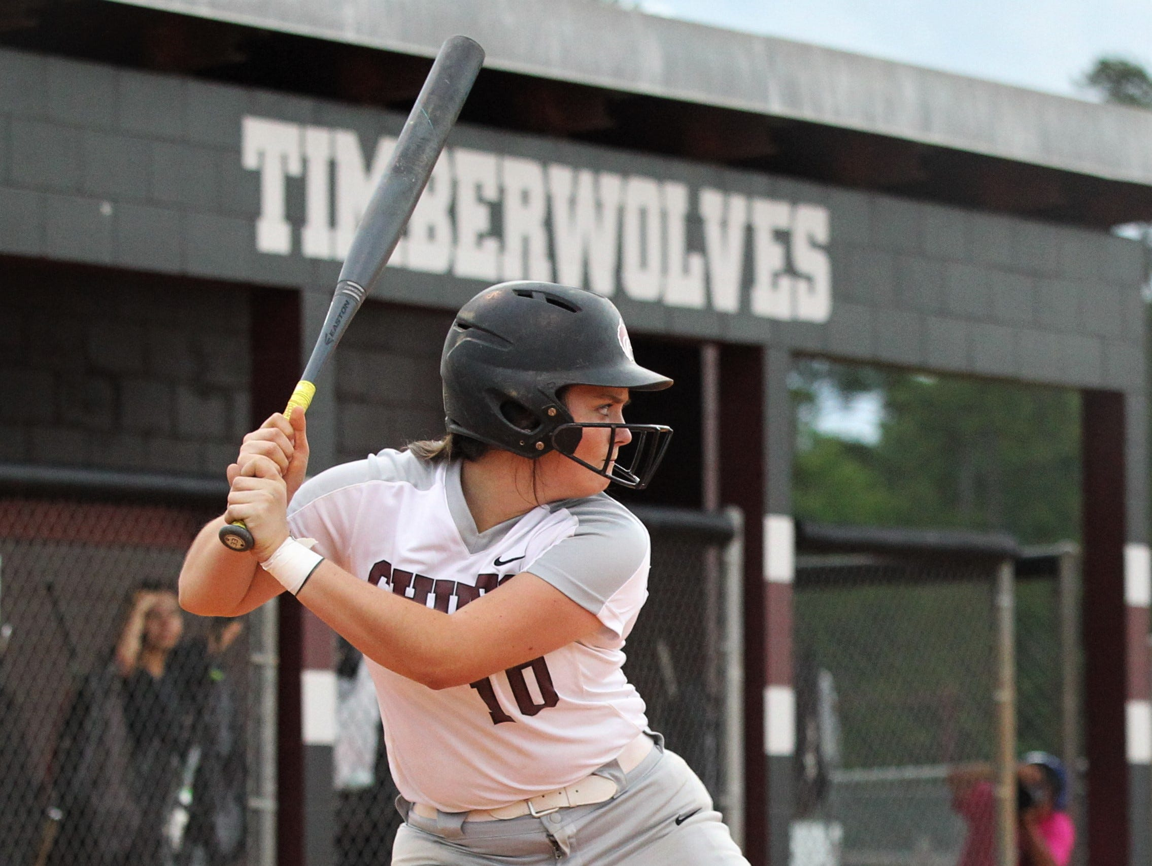 Chiles senior Haley Bond bats as the Timberwolves beat Atlantic Coast 6-4 during a Region 1-8A quarterfinal softball game on Wednesday, May 8, 2019.