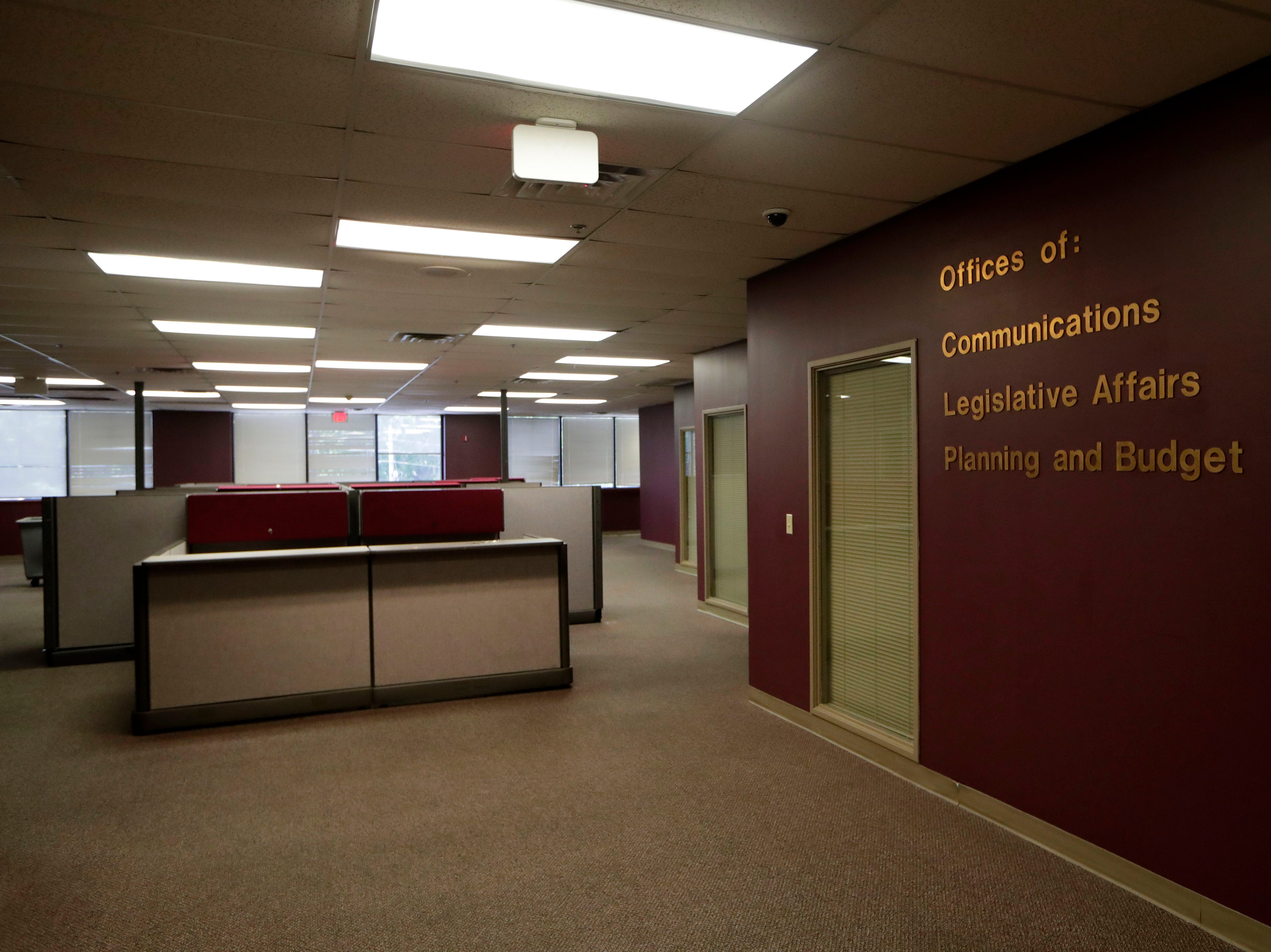 What was once a large office space bustling with people is now vacant inside the Northwood Centre Wednesday, May 8, 2019.