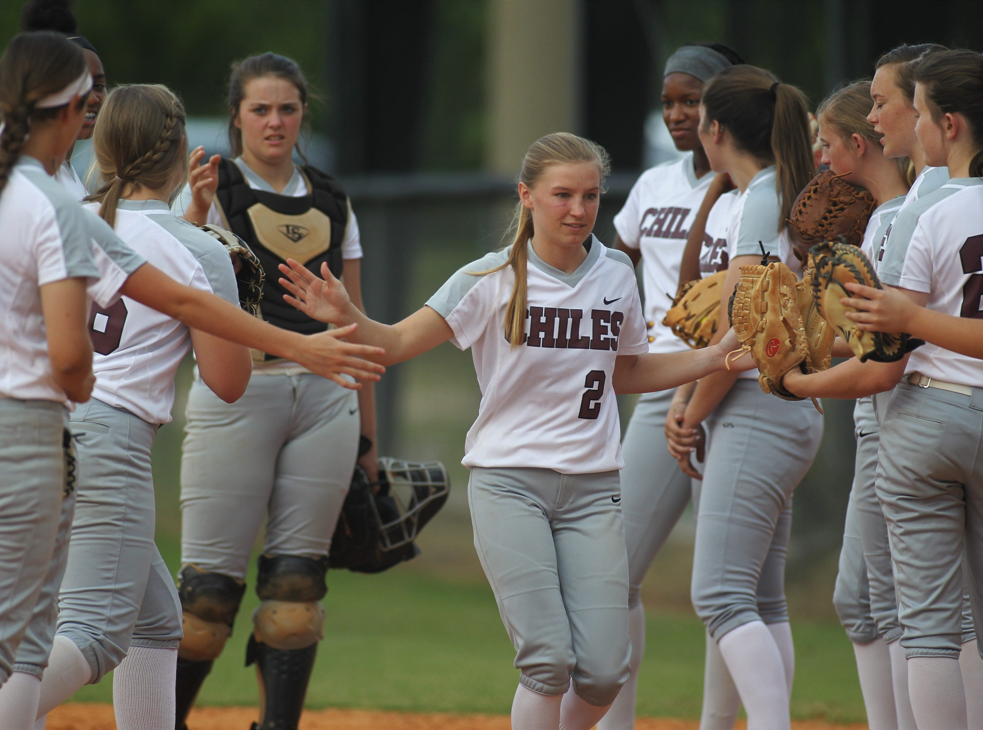 Chiles senior Abbie Townley gets introduced pre-game as the Timberwolves beat Atlantic Coast 6-4 during a Region 1-8A quarterfinal softball game on Wednesday, May 8, 2019.
