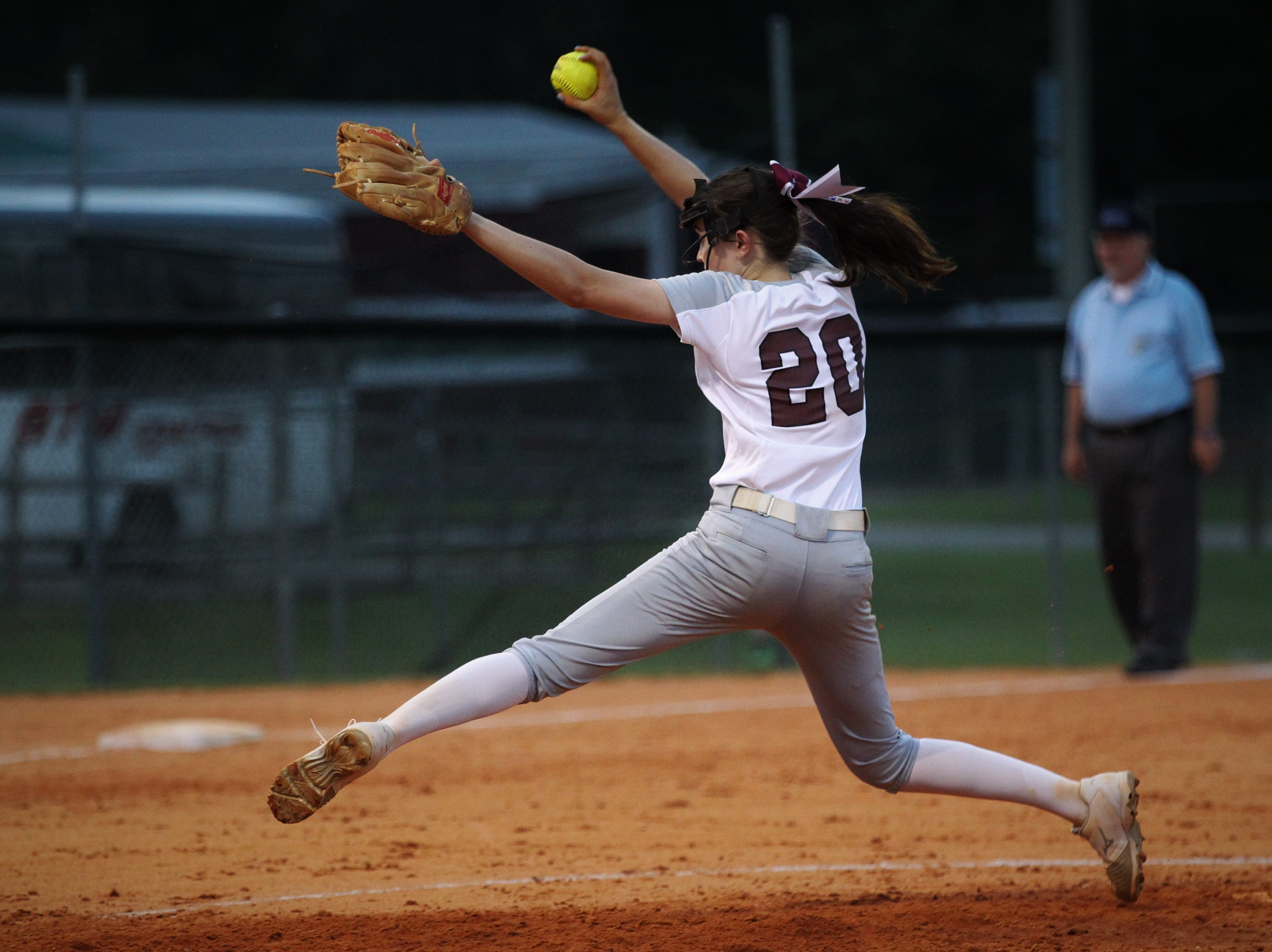 Chiles senior Dani Bauer pitches as the Timberwolves beat Atlantic Coast 6-4 during a Region 1-8A quarterfinal softball game on Wednesday, May 8, 2019.