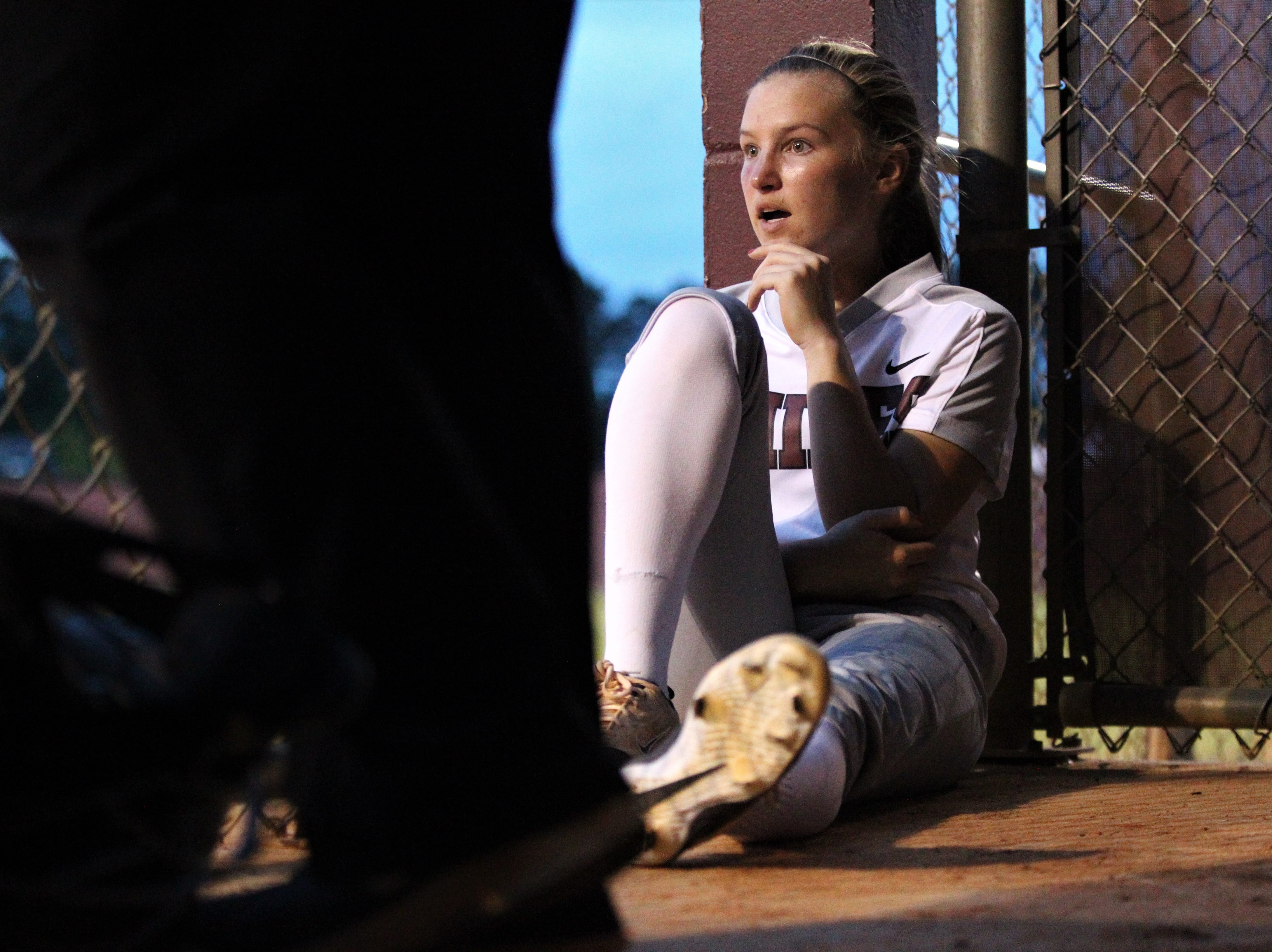 Chiles senior Abbie Townley watches as the Timberwolves beat Atlantic Coast 6-4 during a Region 1-8A quarterfinal softball game on Wednesday, May 8, 2019.