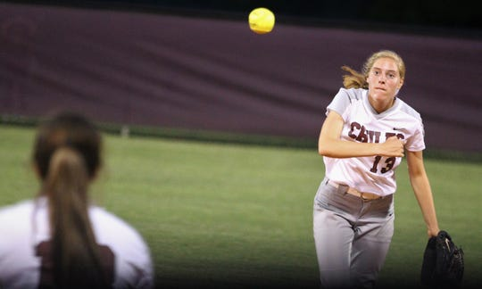 Chiles second baseman Kelsey Mead throws to first for an out as the Timberwolves beat Atlantic Coast 6-4 during a Region 1-8A quarterfinal softball game on Wednesday, May 8, 2019.