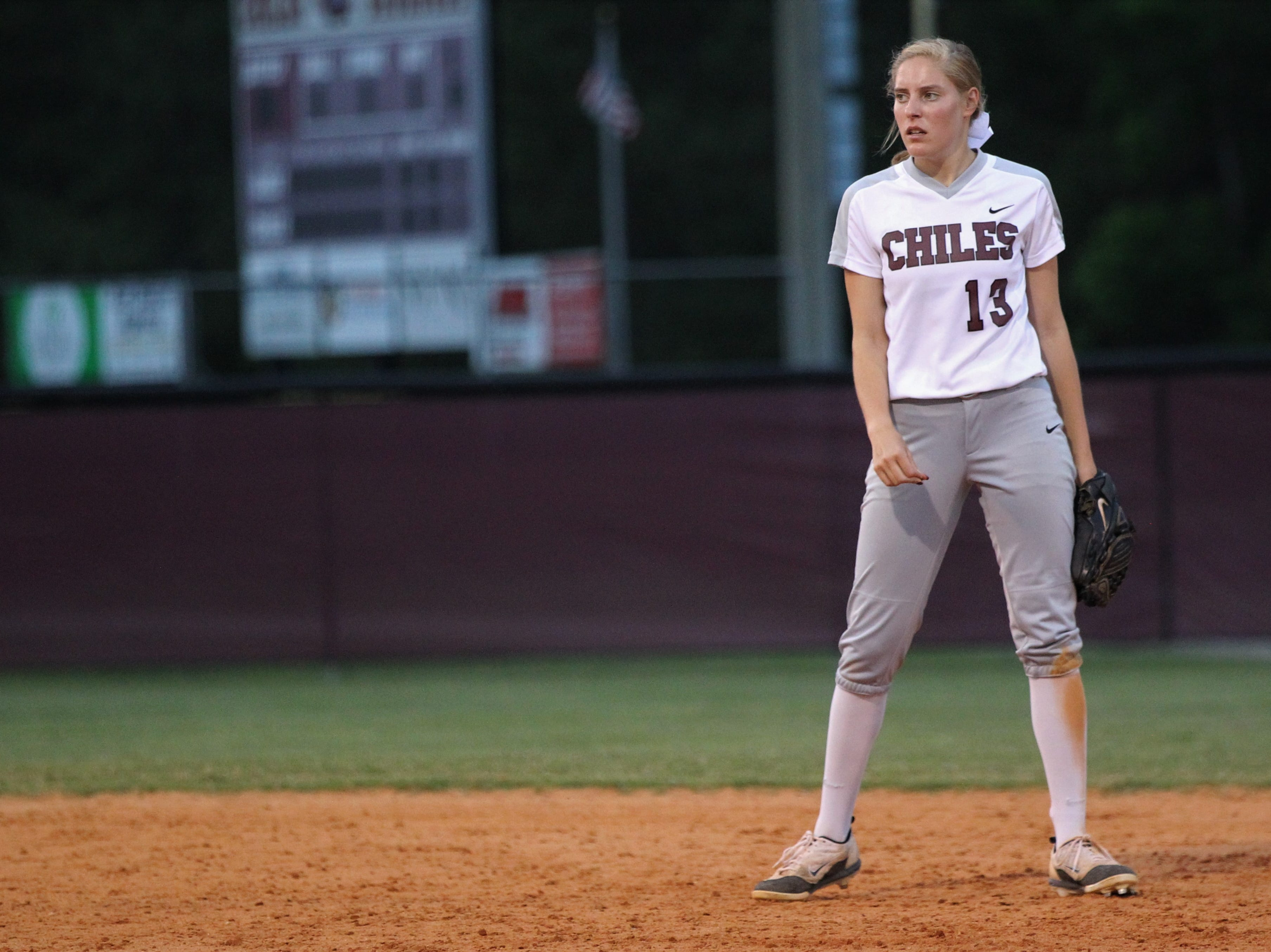 Chiles senior Kelsey Mead prepares for a next pitch at second base as the Timberwolves beat Atlantic Coast 6-4 during a Region 1-8A quarterfinal softball game on Wednesday, May 8, 2019.