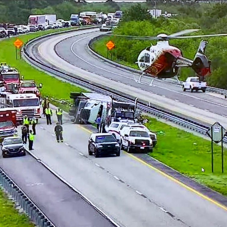 Man flown to trauma center after tractor-trailer flipped on Turnpike in St. Lucie County