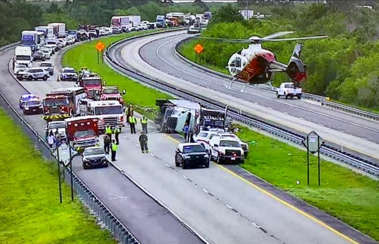 One man flown to hospital after tractor-trailer flipped in St. Lucie County Thursday afternoon.