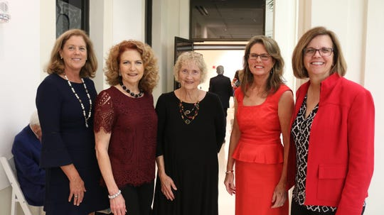 Katie Kelly, left, Kerry Bartlett, Judi Miller, Sharon Stewart and Teri Barenborg at the 2019 Gala for The Learning Alliance at the Vero Beach Museum of Art.