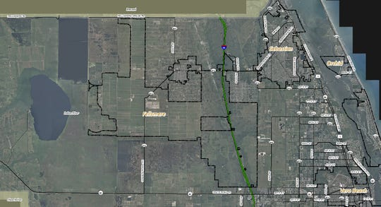 The city of Fellsmere has expanded from 6 square miles in 2005 to 55 square miles in 2019 under the leadership of City Manager Jason Nunemaker. The Fellsmere city limits are inside the outer black lines straddling and west of Interstate 95. Nunemaker said he had hoped before he left for a job in Plantation May 10, 2019, to annex the parcels on State Road 60 on both sides of Interstate 95 (bottom right) and the rectangle just west of 53rd Street at I-95, known as the Sand Lakes Conservation Area.