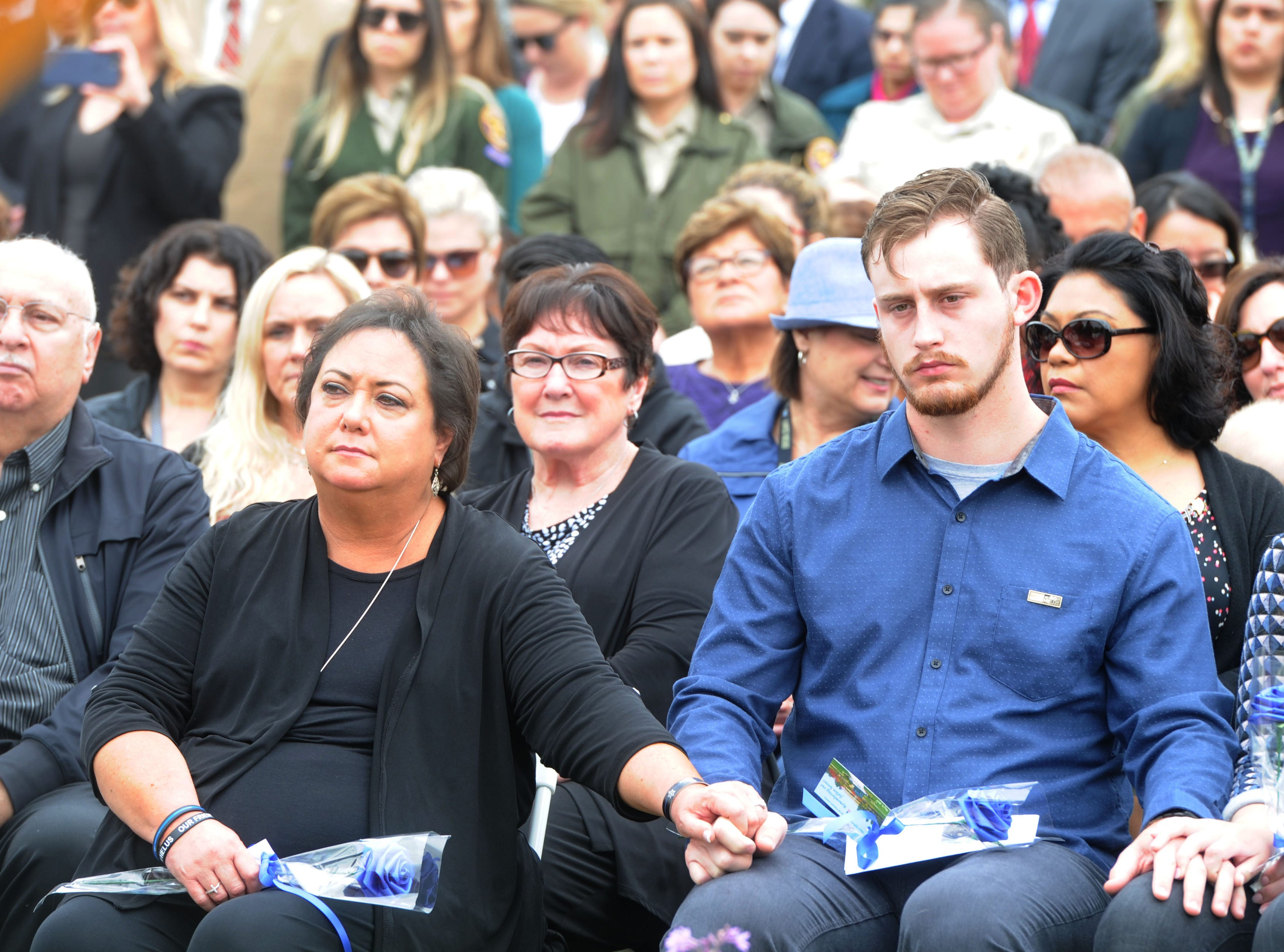 Sheriff's Sgt. Ron Helus' widow, Karen, and his son, Jordan, attended the Ventura County Peace Officers Memorial ceremony at the Ventura County Government Center.