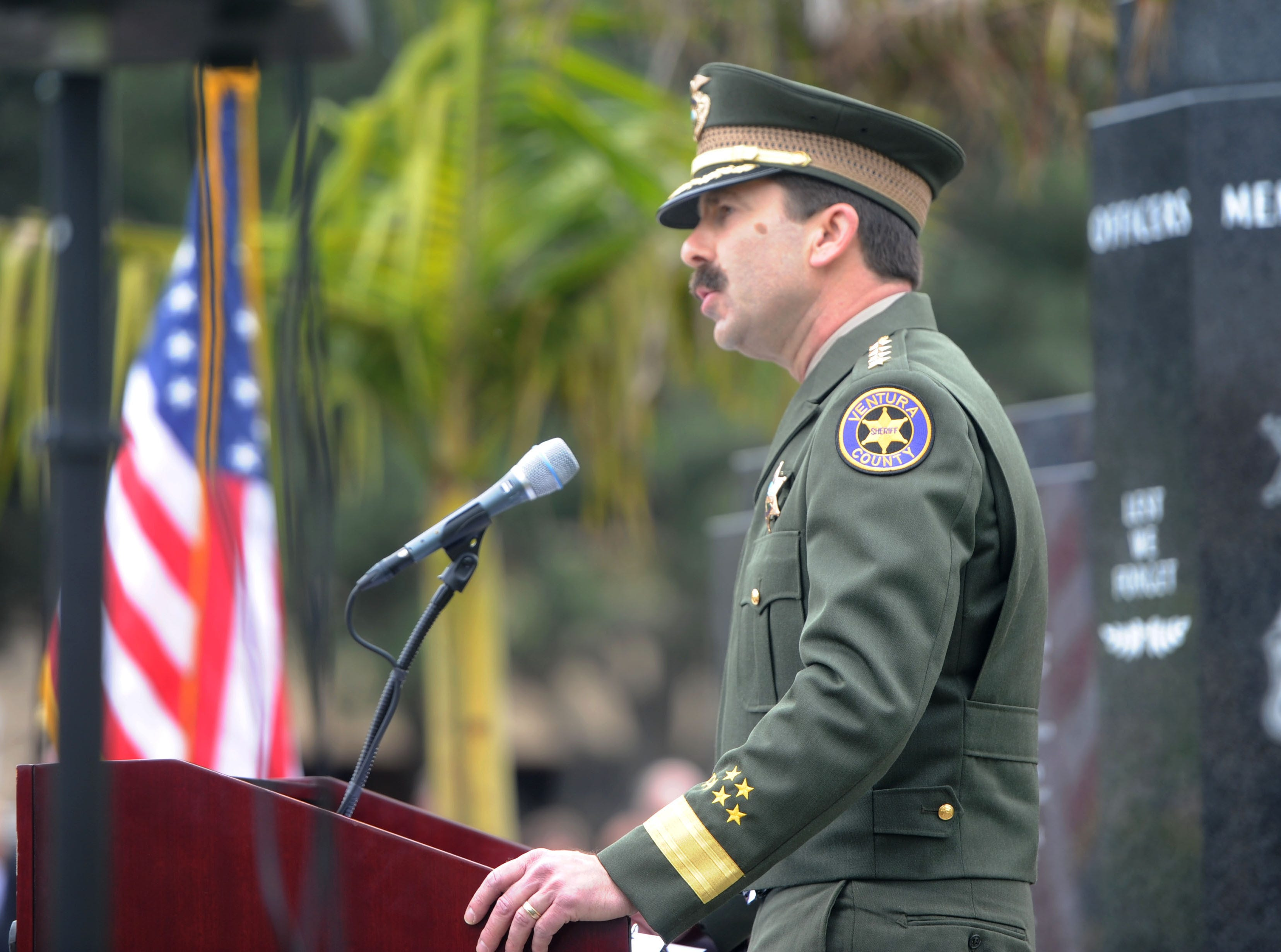Sheriff Bill Ayub speaks Thursday at the Ventura County Peace Officers Memorial during a ceremony at the Ventura County Government Center. Among those honored was the late sheriff's Sgt. Ron Helus.