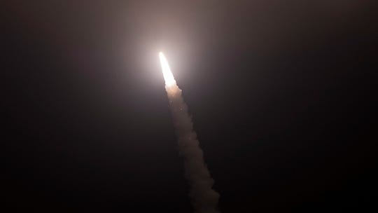 An unarmed Minuteman III intercontinental ballistic missile launches during an operational test at 12:40 a.m. Thursday from Vandenberg Air Force Base.