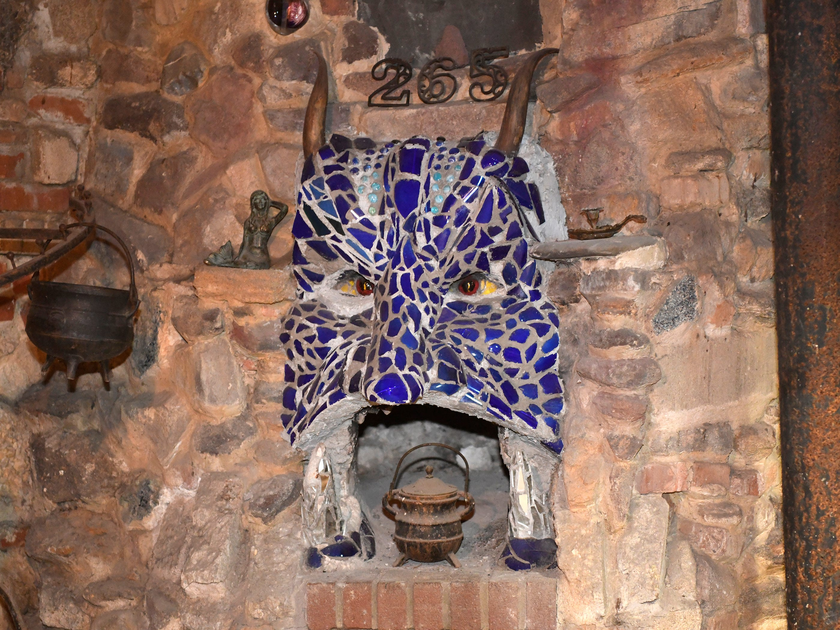"""The working """"Jersey Devil"""" fireplace in the basement of the Palace of Depression located on Mill Road just South of Landis Avenue in Vineland."""