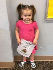 """Cumberland County Libraryannounced that Hannah Larkin, 2, of Hopewell, has """"read"""" 600 books and is on her way to completing the goal of reading 1,000 books before kindergarten."""