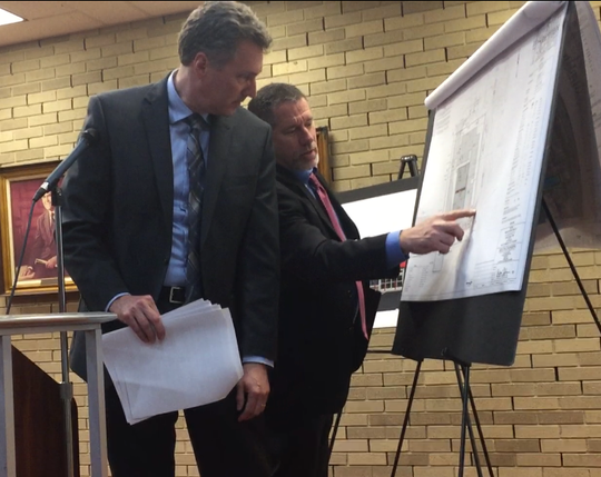 The traffic impact of a proposed Family Dollar store at 419 W. Chestnut Avenue sparked a lot of discussion at the Vineland Planning Board meeting on Wednesday night, May 8, 2019. Project traffic specialist David Horner (left) and engineer William Gilmore testify here. The project was approved.