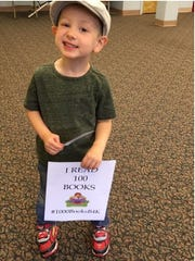 "Cumberland County Library announced that Arden Cossaboom, 3, of Bridgeton ""read"" 100 books and is on his way to completing the goal of reading 1,000 books before kindergarten."