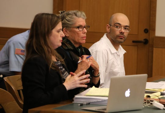 Andrew Krivak appears for his hearing on his bid to have his 1997 conviction dismissed in the rape and murder of 12-year-old Josette Wright, May 9, 2019 in Putnam County Court in Carmel. Judge David Zuckerman ordered a new trial for Krivak after hearing testimony that a Connecticut sex offender, Howard Gombert, had made jailhouse statements in 2011 implicating himself in the crime.