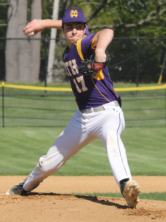 Clarkstown North's Corey Savedoff (17) pitches during baseball game at Clarkstown North High School in New City May 8, 2019. Clarkstown North defeats North Rockland 2-0.