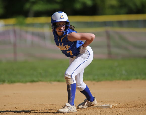 Ardsley's Sarah Rende (7) prepares to take lead off second base during softball action at Albertus Magnus High School in Bardonia on Wednesday, May 8, 2019.