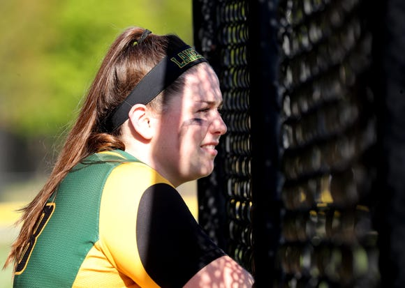 Lakeland's Claire Fon watches as Lakeland bats during a varsity softball game against Horace Greeley at Horace Greeley High School in Chappaqua May 8, 2019.
