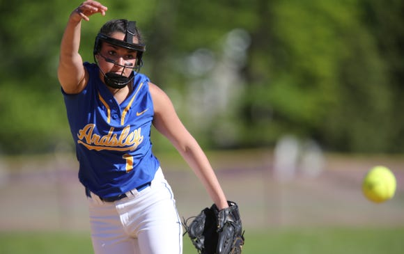 Ardsley pitcher Gabby Krumper (1) delivers a pitch during softball action at Albertus Magnus High School in Bardonia on Wednesday, May 8, 2019.