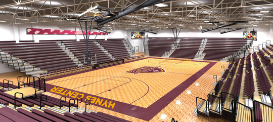 A rendering of the Hynes Athletic Center at Iona College, which will begin a $6-million renovation on the building. The college said the renovation will upgrade the floor, seating, lights, scoreboard and entryway and is expected to be complete by Oct. 2019.