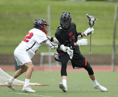Rye's Danny Fitzgibbons (17) works against Byram Hills' Alec Geller (22) during their 8-3 win in boys lacrosse action at Byram Hills High School in Armonk on Thursday, May 9, 2019.